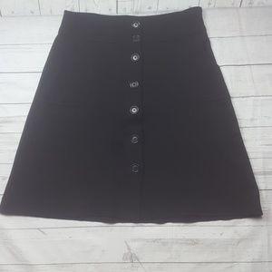 Banana Republic black button front skirt
